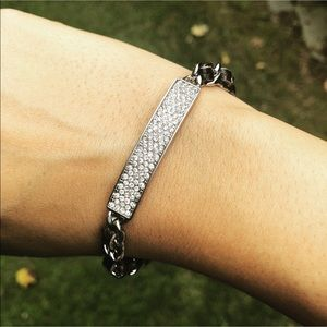 Dark Brown Leather Bracelet & Silver Chain Crystal